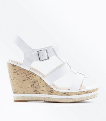 White Comfort Gladiator Cork Wedges