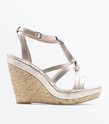 Gold Metallic Knot Strap Cork Wedges