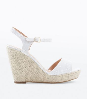 White Broderie Espadrille Wedges