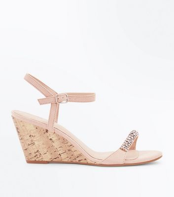 Nude Suedette Diamanté Strap Cork Wedges
