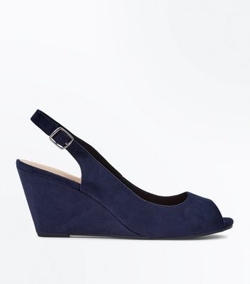 Marineblaue, komfortable Peeptoe-Schuhe mit Keilabsatz in Wildleder-Optik