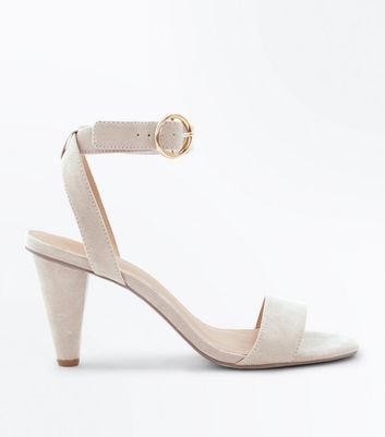 Grey Suedette Cone Heel Sandals