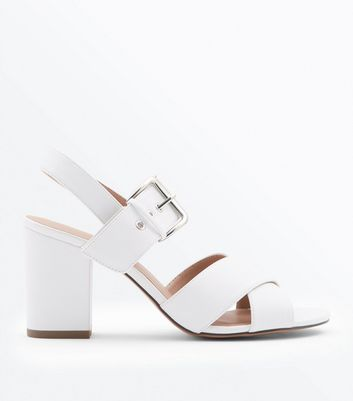White Cross Strap Block Heel Sandals