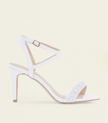 Off White Satin Pearl Strap Wedding Sandals