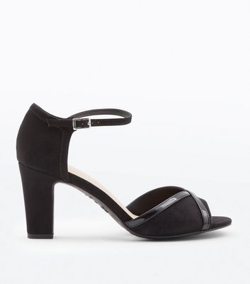 Black Suedette Patent Cross Peep Toe Heels