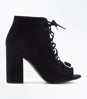Black Suedette Lace Up Block Heels