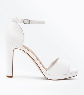 White Comfort Platform Block Heel Sandals by New Look