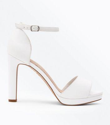 White Comfort Platform Block Heel Sandals by New Look