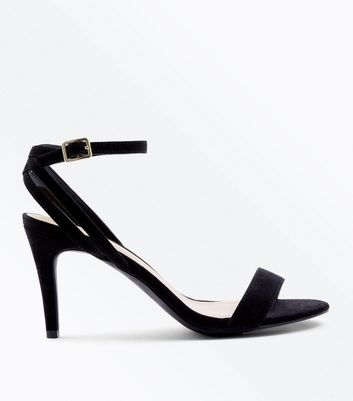 Black Suedette Strappy Back Stiletto Sandals