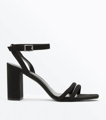 Black Suedette Padded Strap Block Heels by New Look