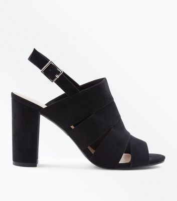 Black Suedette Cut Out Strap Block Heels