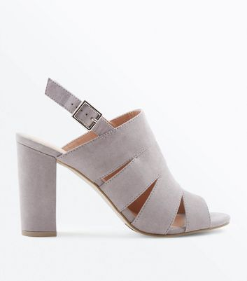 Grey Suedette Cut Out Strap Block Heels