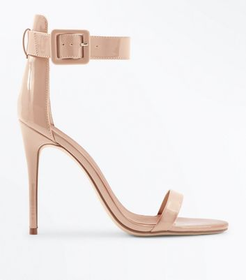 Nude Suedette Buckle Strap Barely There Heels