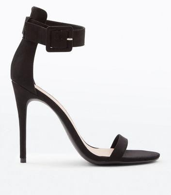 Black Suedette Buckle Strap Barely There Heels by New Look