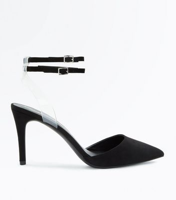 Black Suedette Clear Strap Pointed Heels