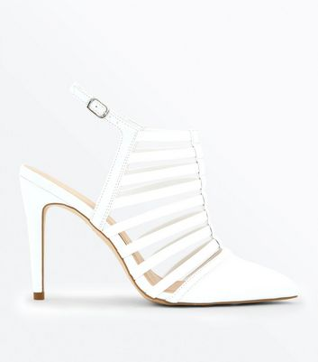 White Pointed Caged Stiletto Heels