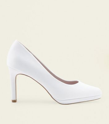 Off White Satin Round Toe Wedding Courts by New Look