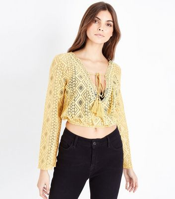 Mustard Yellow Lace Tassel Front Crop Top