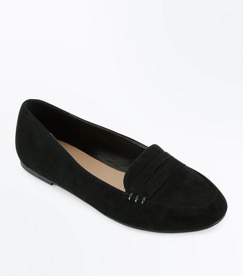 Black Suedette Whipstitch Loafers by New Look