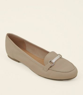 Grey Leather Metal Bar Front Loafers
