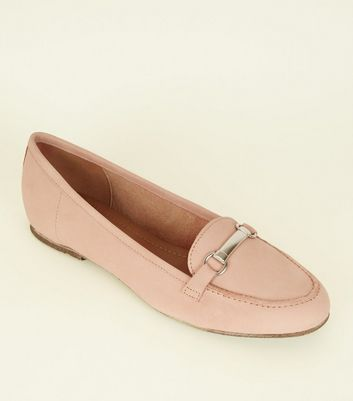 Pink Leather Metal Bar Front Loafers