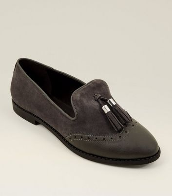 Grey Suede Contrast Panel Tassel Loafers