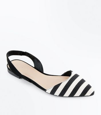 Black Stripe Woven Pointed Slingback Pumps