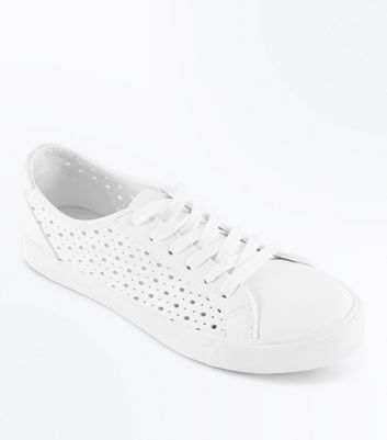 White Cut Out Lace Up Trainers