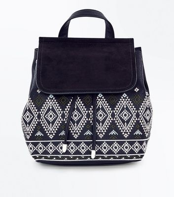 Black Aztec Embroidered Backpack