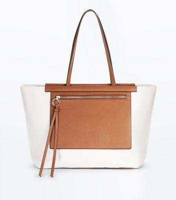 Cream Contrast Canvas Shopper Bag