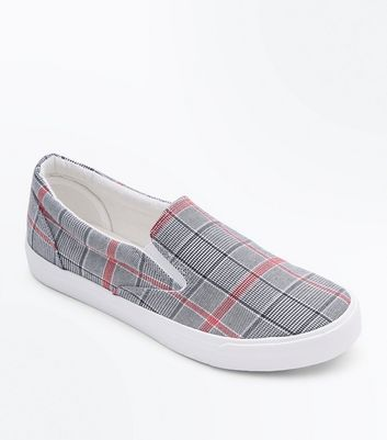 Grey Check Print Slip On Trainers