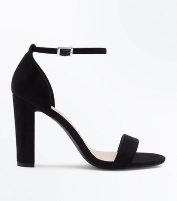 Wide Fit Black Suedette Ankle Strap Block Heels