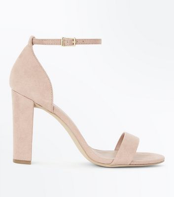 Wide Fit Nude Suedette Ankle Strap Block Heels