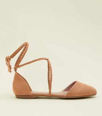 Tan Suedette Plait Ankle Tie Pumps