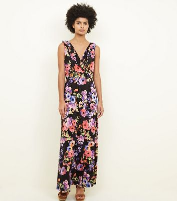 Mela Black Floral Frill Trim Maxi Dress by New Look