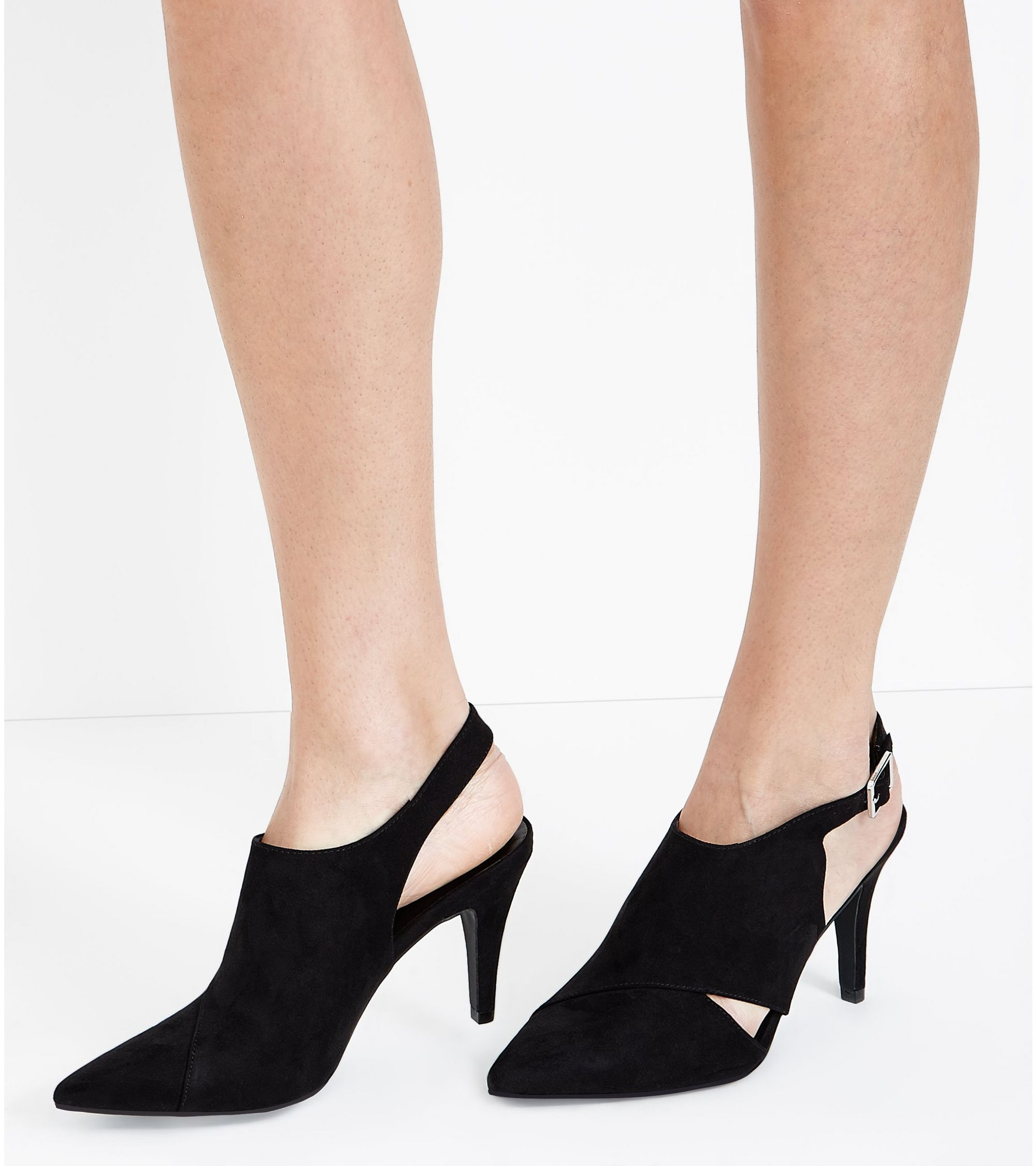8b8da05222d New Look Wide Fit Black Suedette Pointed Heeled Slingbacks at £12 ...