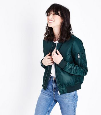 Teal Satin Bomber Jacket