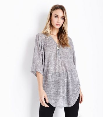 Blue Vanilla Grey Diamante Embellished Zip Front Top