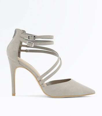 Wide Fit Grey Suedette Asymmetric Strap Pointed Heels