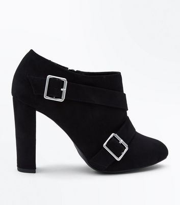 Wide Fit Black Suedette Buckle Strap Shoe Boots