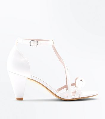 Girls Off White Satin Cone Heel Sandals