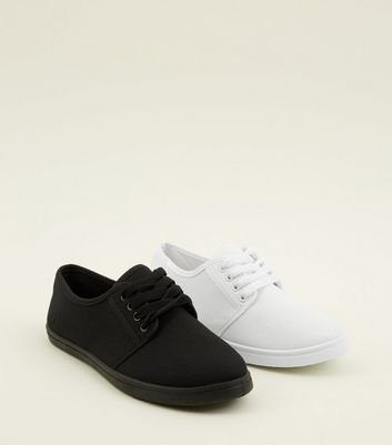 Teens 2 Pack White and Black Trainers