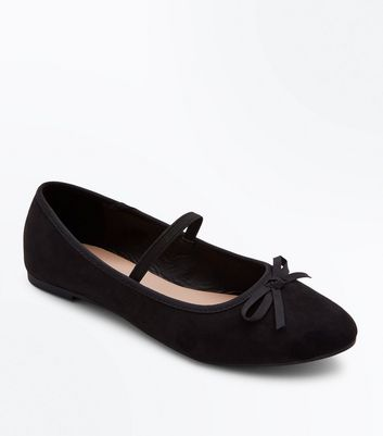 Teens Black Suedette Bow Front Strap Ballet Pumps