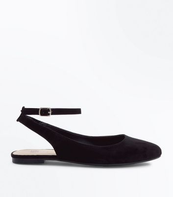 Girls Black Sling Back Ballet Pumps