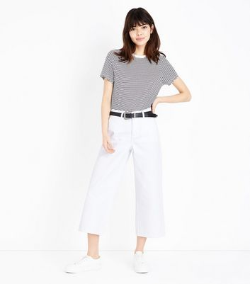 White Cropped Wide Leg Jeans by New Look