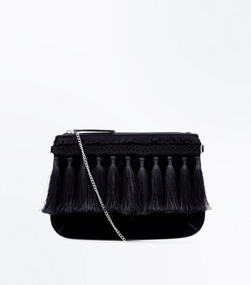 Black Tassel Fringe Trim Clutch Bag