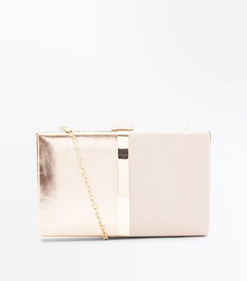 Rose Gold and Nude Colour Block Clutch Bag