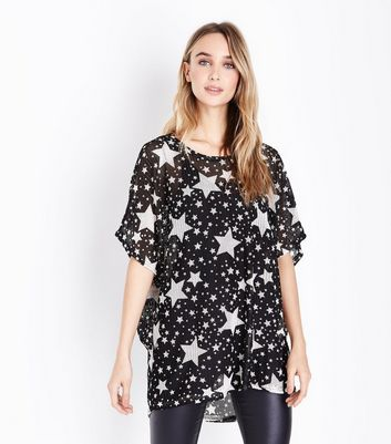 Blue Vanilla Black Star Print Fine Knit Top