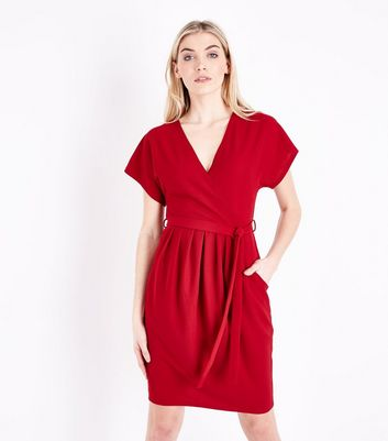 Blue Vanilla Red Pleated Wrap Front Dress