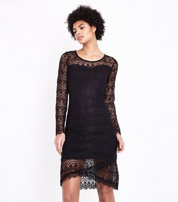 Blue Vanilla Black Lace Long Sleeve Dress